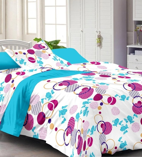 Marvelous Abstract Pattern 130TC Cotton Single Bed Sheet With 1 Pillow Cover By  Story@Home