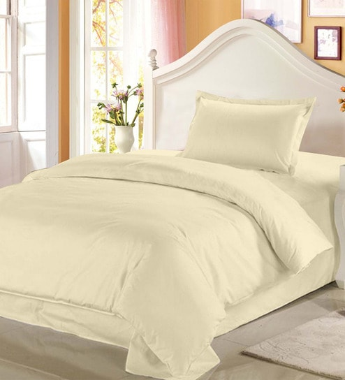 Solid 208TC Cotton Single Bed Sheet With 1 Pillow Cover By Story@Home