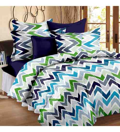 geometric pattern 120tc cotton queen size bed sheet with 2 pillow covers by storyhome bed sheets pattern o7 sheets