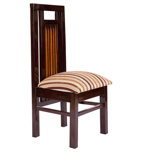 Merveilleux Straight Back Dining Chair In Brown Polish By Karigar