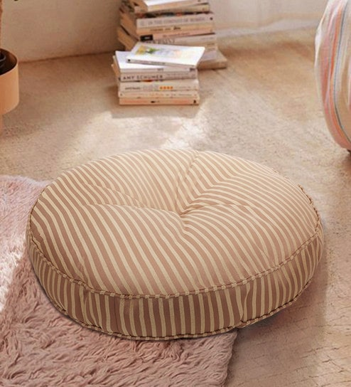 Excellent Striped Tan Polyester Round Floor Cushion 22 X 22 Inches S9Home By Seasons Pdpeps Interior Chair Design Pdpepsorg