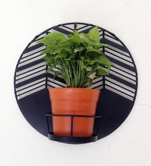 Buy Amalfi Waves Black Metal Wall Planter With Terracotta Ceramic