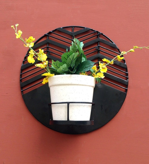 Buy Amalfi Waves Black Metal Wall Planter With White Ceramic Pot By