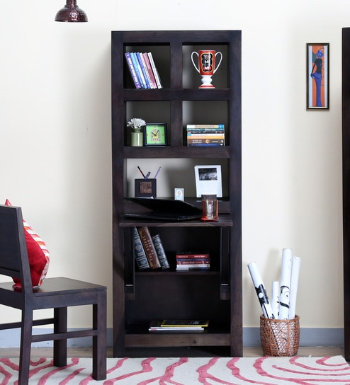 Acropolis Solid Wood Book Shelf With Folding Study Table In Warm Chestnut Finish By Woodsworth