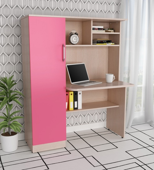 Buy Study Table With Shelves & Cabinet In Sandy Sawline