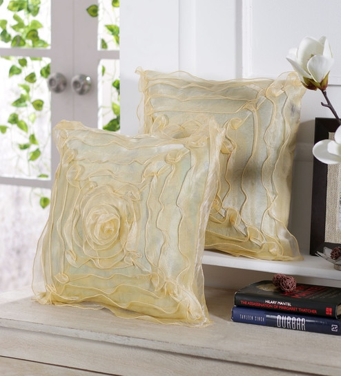 Floral Tissue Silk 16 x 16 inch Cushion Cover Set of 5 by Stybuzz