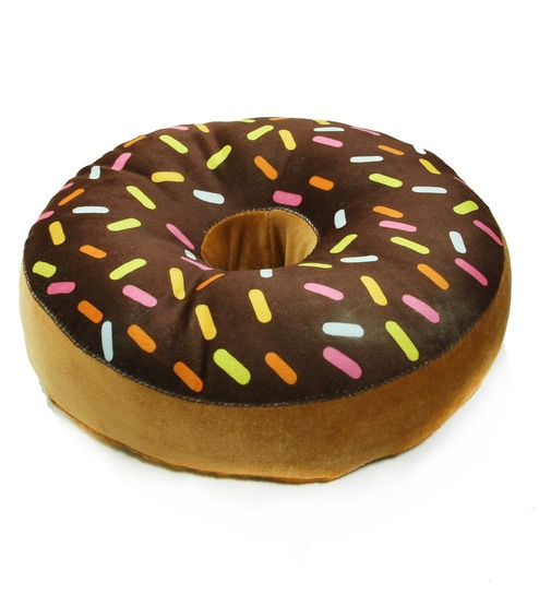 Pepperfry  Offer  Buy Brown Velvet 16 x 16 Inch Donut Pillow Cushion Covers with Insert by Stybuzz at Rs.189