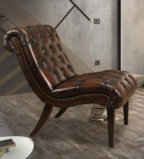 Stylish Tufted Relaxing Chair In Brown Leatherette By Dreamzz Furniture