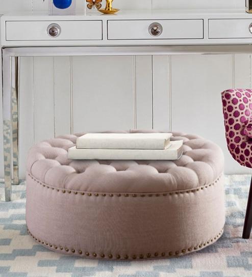 Enjoyable Stylish Tufted Round Ottoman In Beige Colour By Dreamzz Furniture Uwap Interior Chair Design Uwaporg