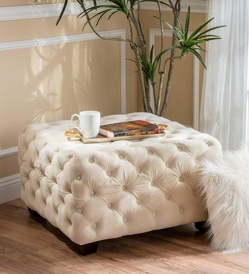 Astonishing Stylish Tufted Square Velvet Ottoman In Ivory By Workspace Interio Machost Co Dining Chair Design Ideas Machostcouk