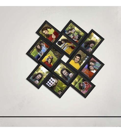 Black Synthetic Wood Stylish Collage Photo Frame by Snap Galaxy