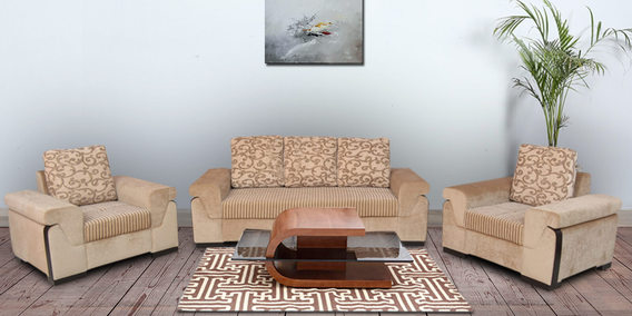 stylus sofa set (3 + 1 + 1) with 5 cushions in brown color IEK9MU6M