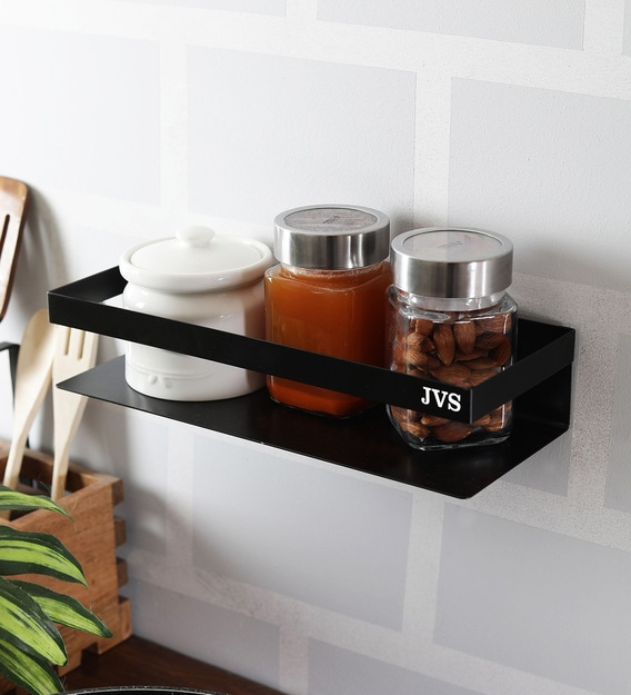 Buy Stainless Steel Kitchen Rack In Black By Jvs Online Kitchen Shelves Kitchen Shelves Discontinued Pepperfry Product