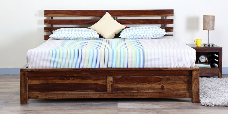 Stigen Solidwood Queen Bed in Provincial Teak Finish by Woodsworth