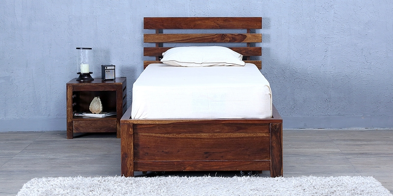 Stigen Single Bed with Storage in Provincial Teak Finish by Woodsworth