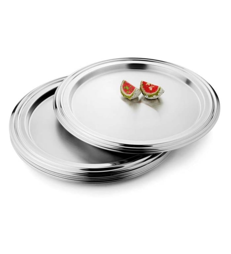 Click to Zoom In/Out  sc 1 st  Pepperfry & Steelcraft Stainless Steel Designer Dinner Plates - Set of 6 by ...