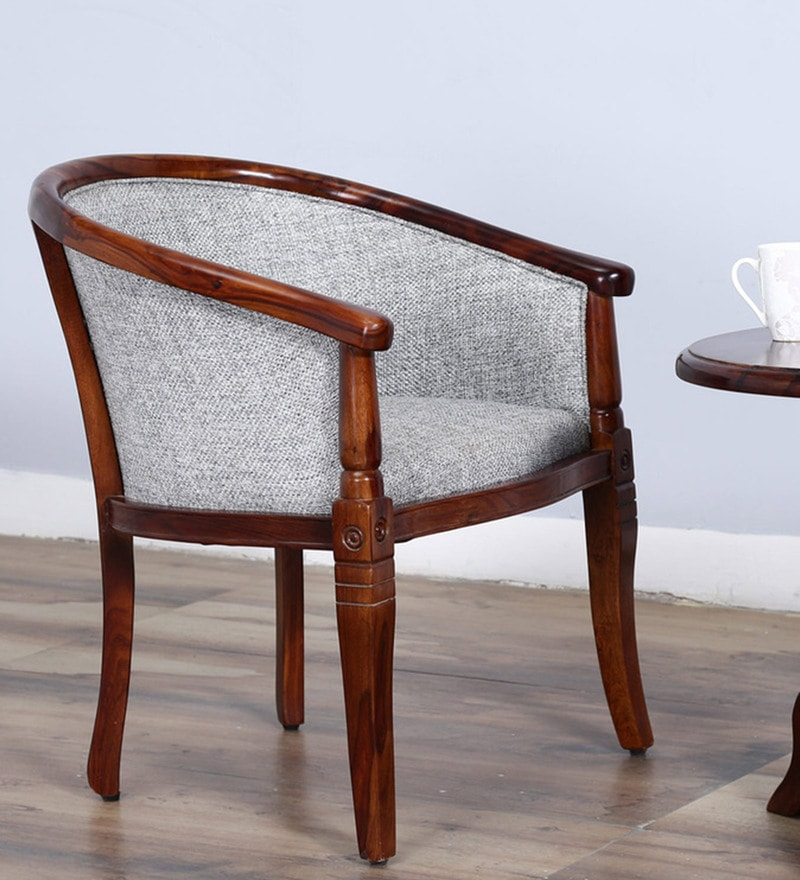 Stalley Arm Chair in Grey Color with Honey Oak Finish by Amberville