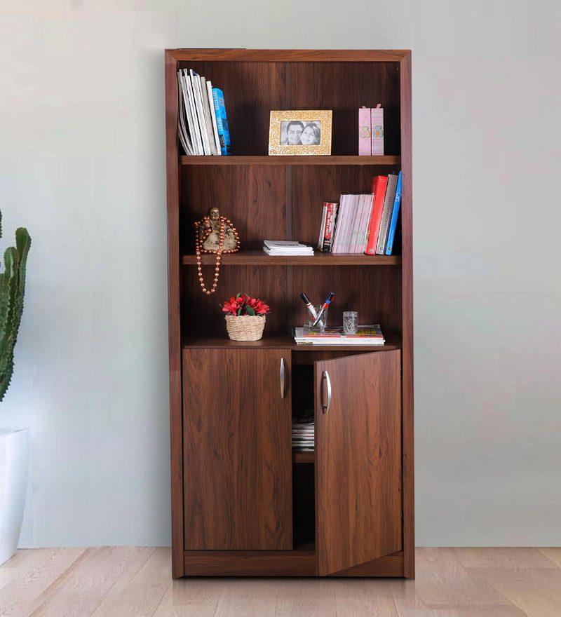 Buy Stark Book Shelf With Cabinet In Walnut Finish By