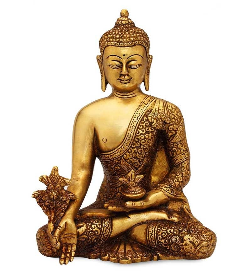 Shalinindia Buddhist Home Decor Sitting Tara Buddha Brass: Buy Statue Studio Brown Brass Sitting Buddha Statue Online