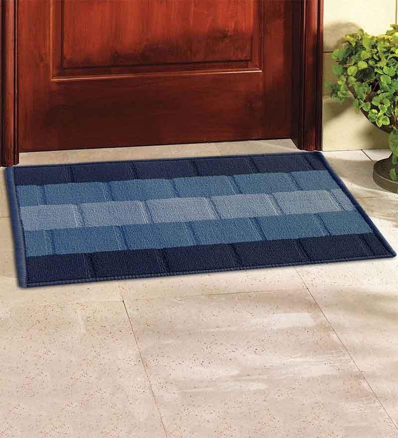 Iris Blue Textured Door Mat by Status