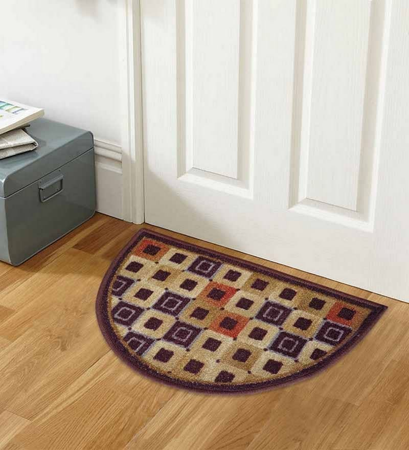 Brown Nylon 23 x 15 Inch Taba Abstract D Shape Door Mat by Status