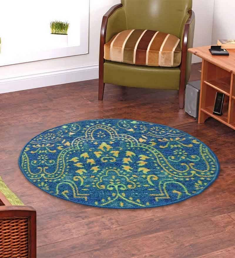 Green Nylon 28 x 28 Inch Ethnic Round Area Rug by Status
