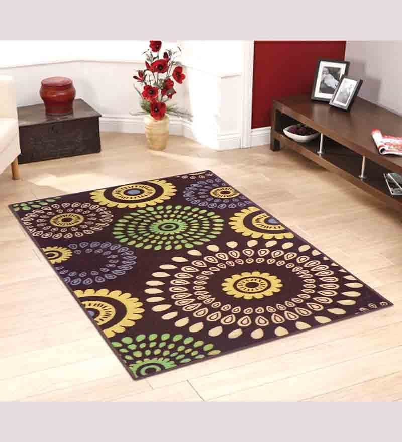 Brown Nylon Floral Round Area Rug by Status