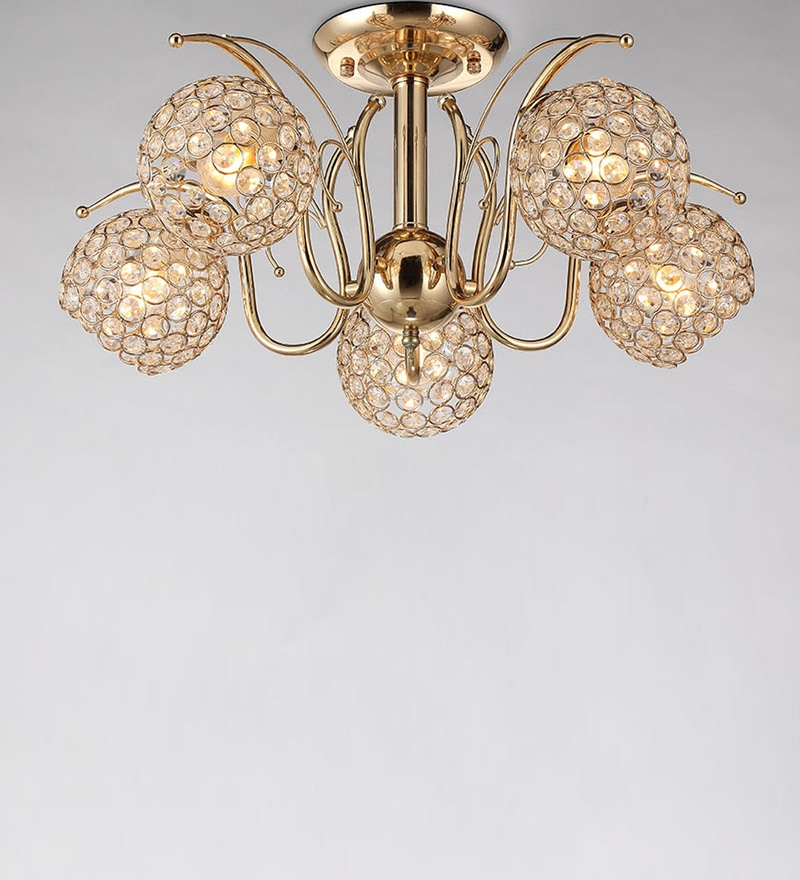 Buy Gold Metal & Crystal Chandelier by Stello Online - Modern ...