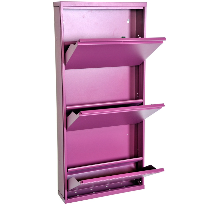 Step In Shoe Cabinet In Purple Colour By Godrej Interio By Godrej Interio Online Metal