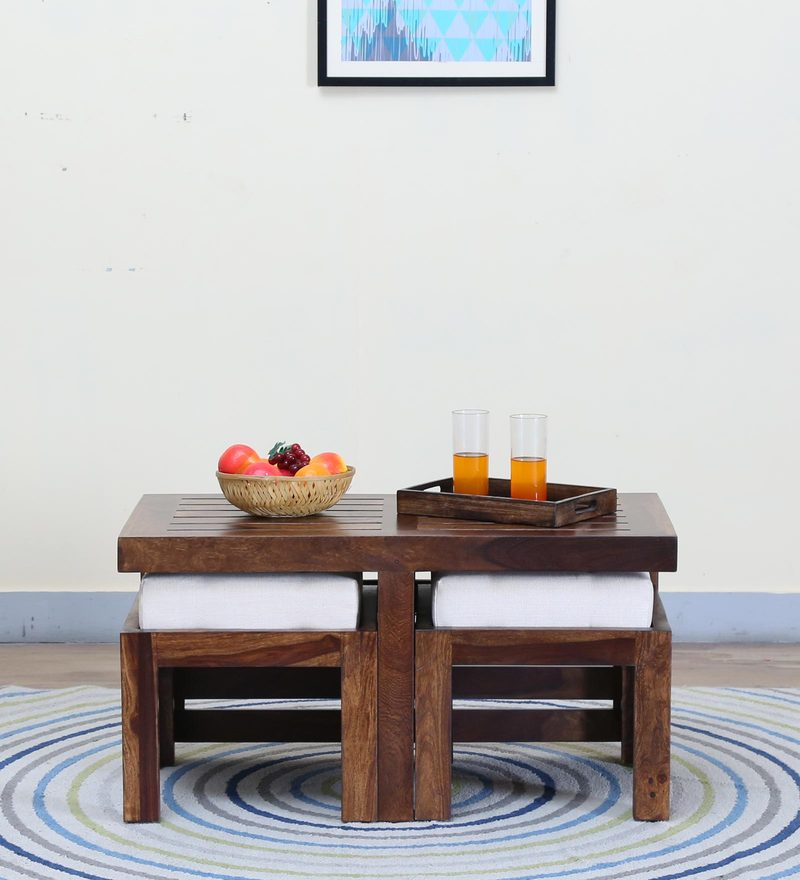Stigen Coffee Table Set with Two Stool in Provincial Teak Finish by Woodsworth