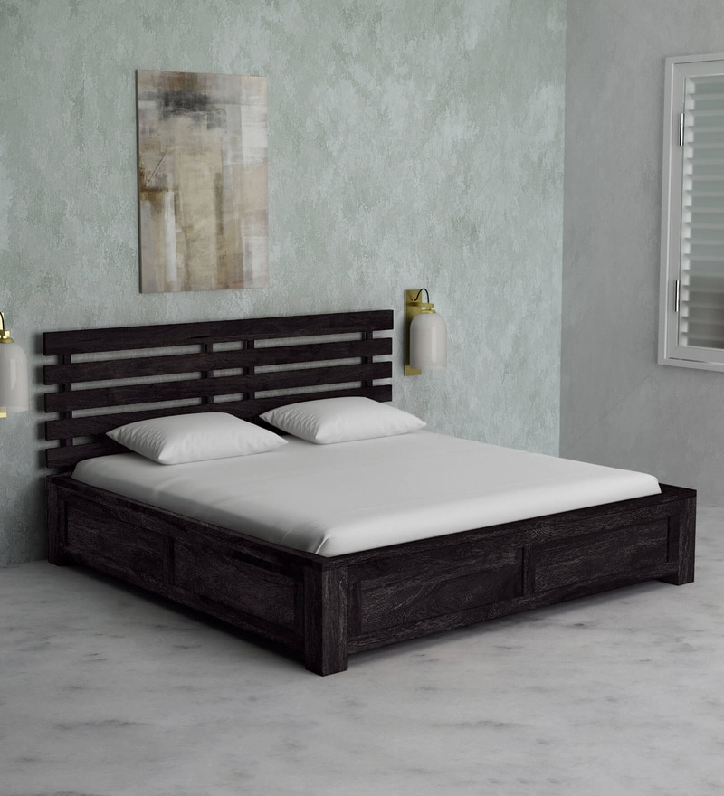 buy stigen solid wood king size bed with box storage in warm chestnut finish by woodsworth. Black Bedroom Furniture Sets. Home Design Ideas