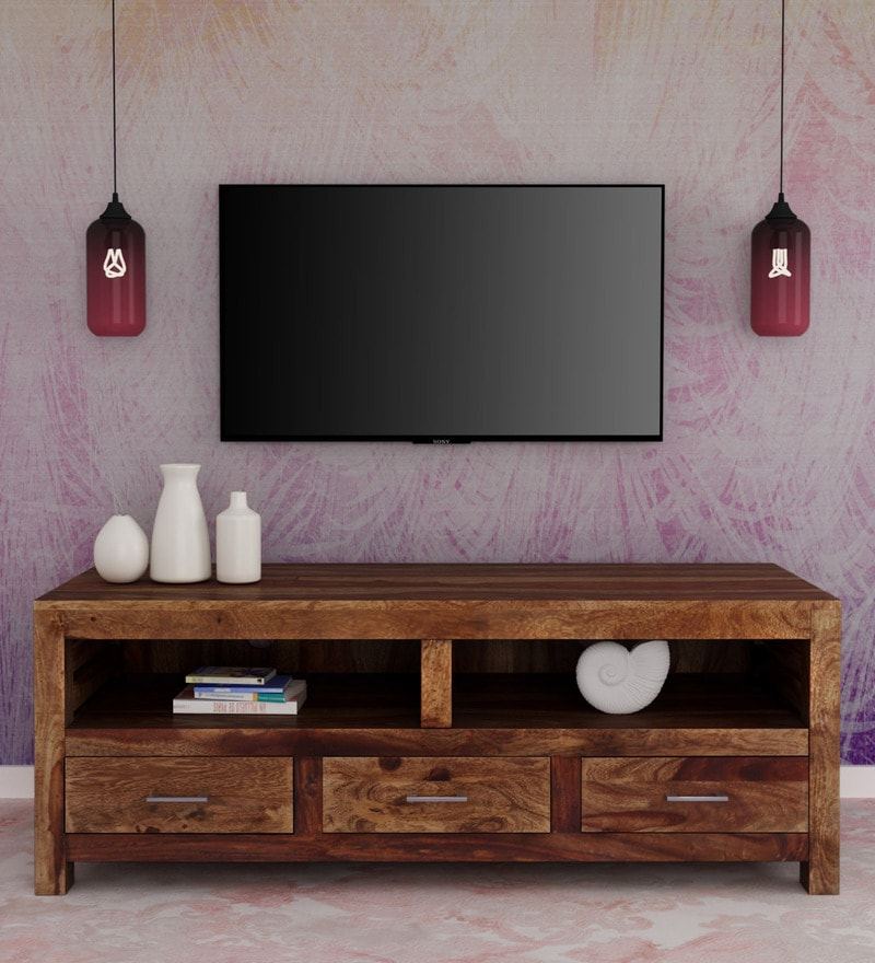 Stigen Solid Wood Tv Console In Provincial Teak Finish By Woodsworth