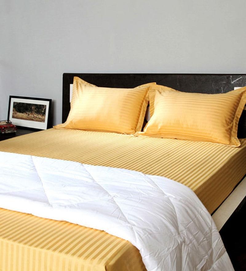 Golden 100% Cotton Pillow Cover - Set of 2 by Stoa Paris