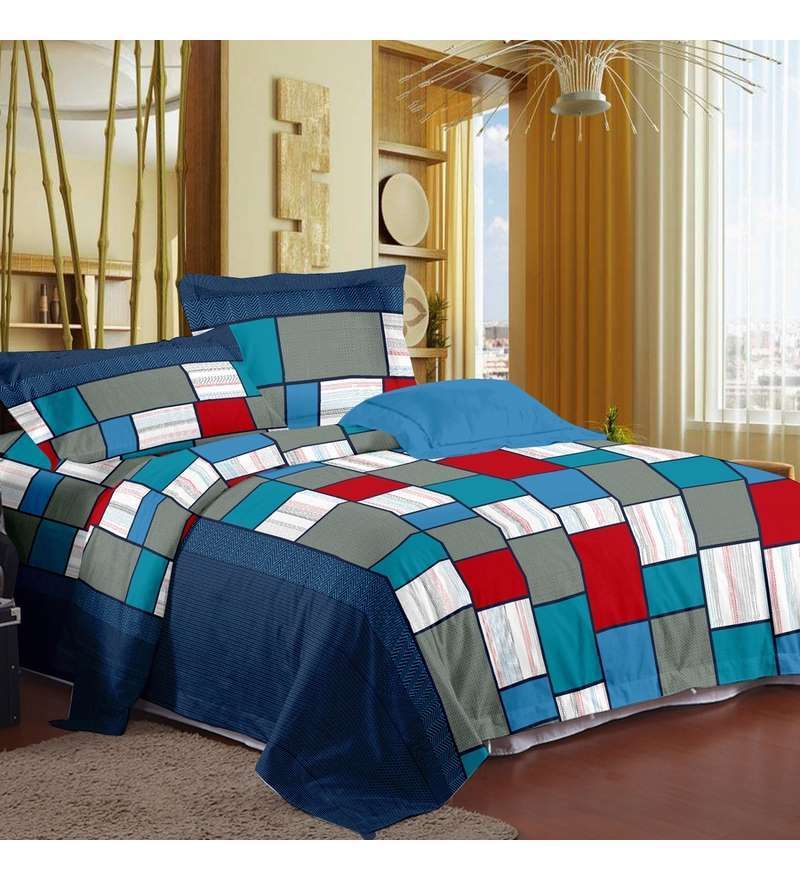 Blue Double Bedsheet with Pillow Covers by Story@Home
