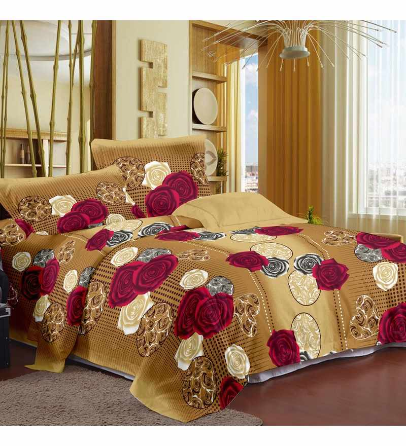 Cream Double Bedsheet with Pillow Covers by Story@Home
