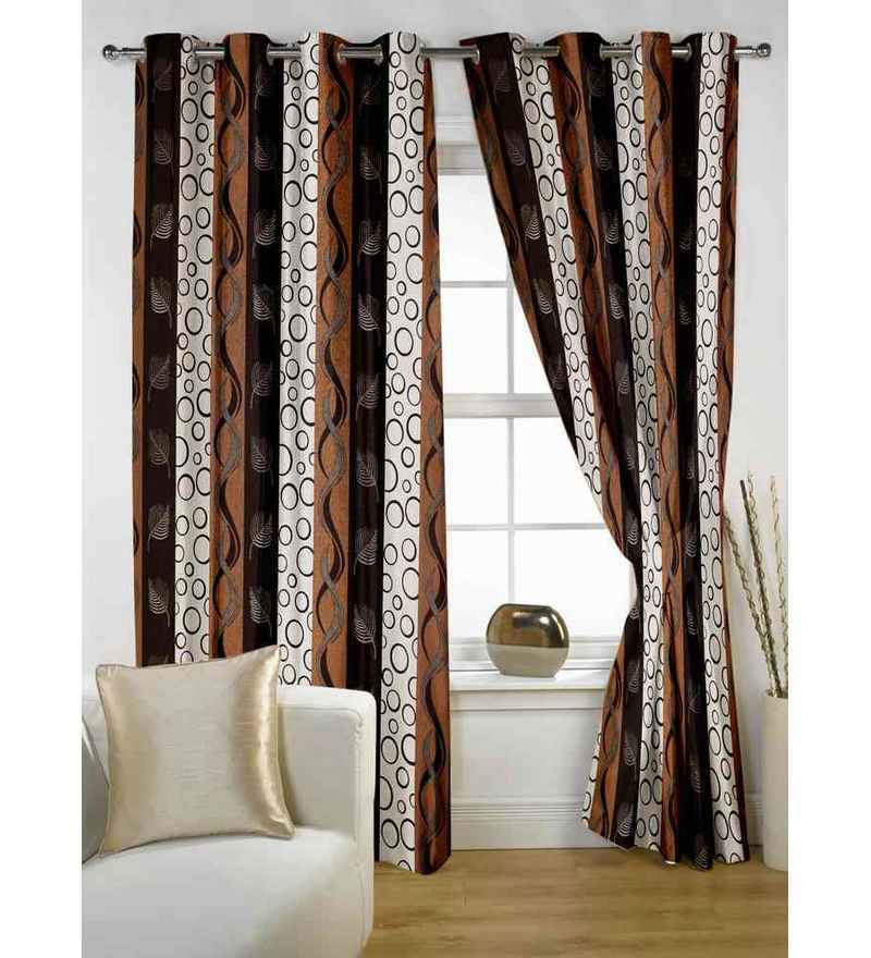 Story@Home Coffee Polyester 60 x 48 Inch Window Curtain  - Set of 2