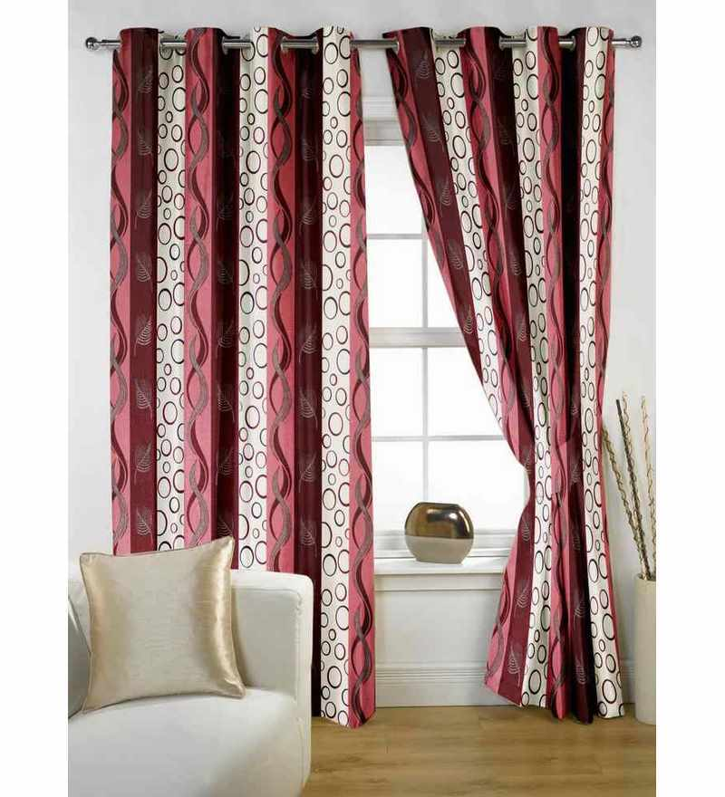 Story@Home Wine Polyester 60 x 48 Inch Abstract Window Curtain  - Set of 2