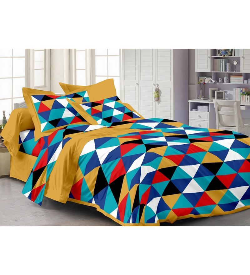 Yellow Cotton Abstract Double Bed Sheet (with Pillow Covers) - Set of 3 by Story@Home