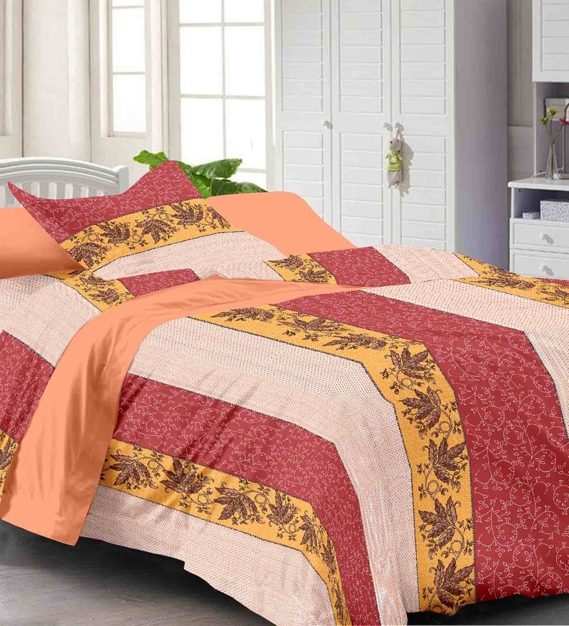 Multicolour Geometric Patterns Cotton Single Size Bed Sheets - Set of 2 by Story@Home