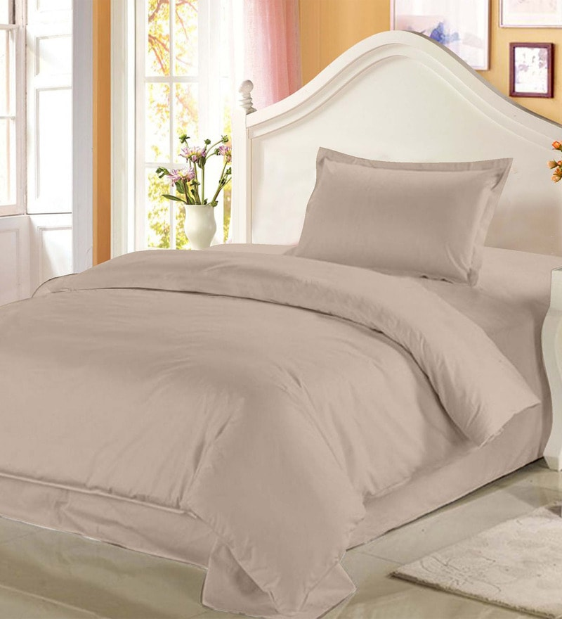 Brown Solids Cotton Single Size Bed Sheets - Set of 2 by Story@Home