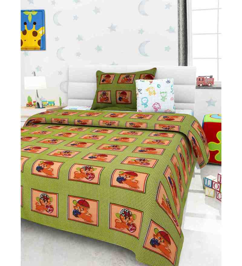 Multicolour 100% Cotton 57 X 91 Inch Kidzy Bed Sheet Set by Story@Home
