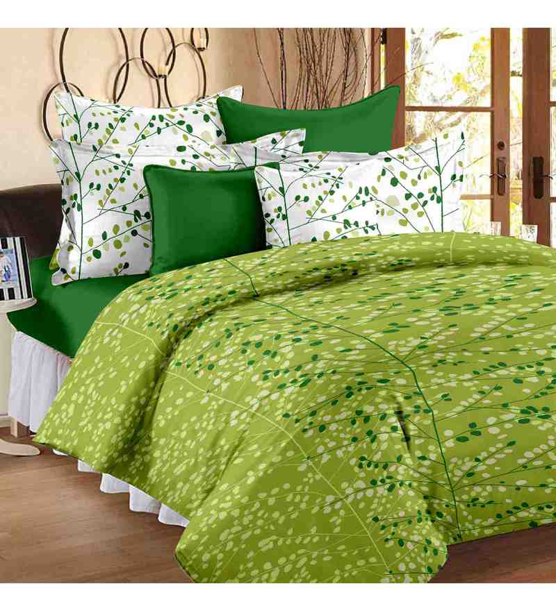 Green 100% Cotton 88 x 93 Inch Flora Bed Sheet Set by Story@Home