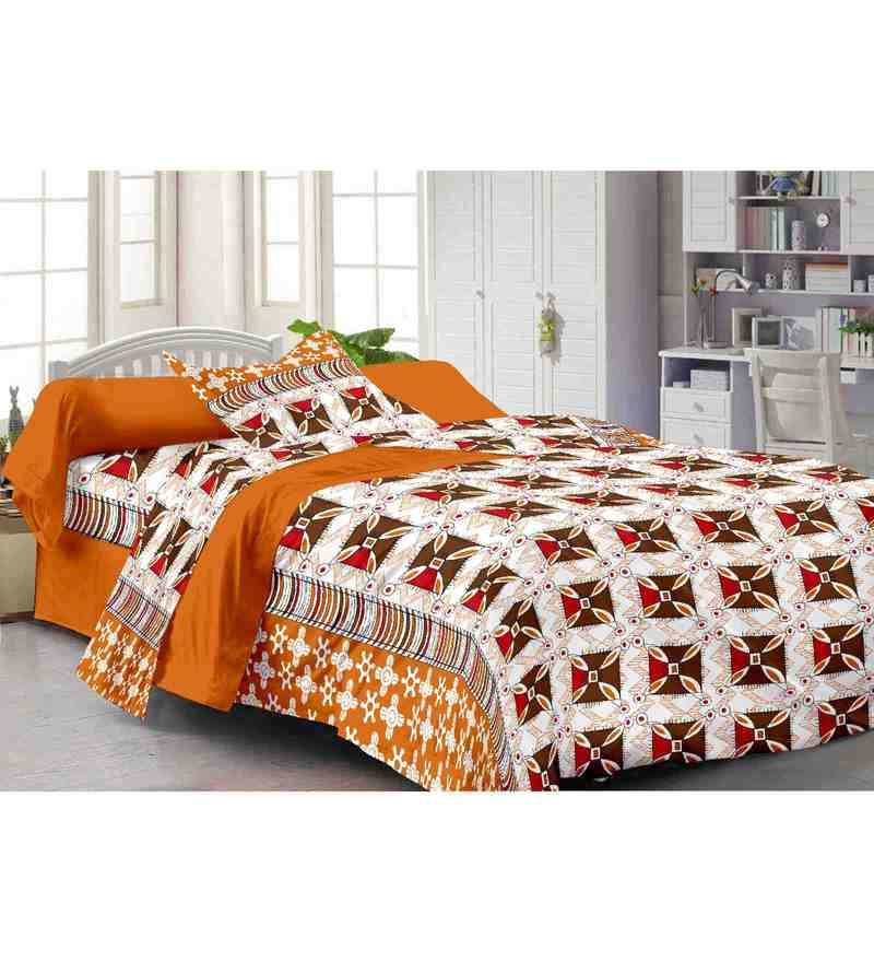Multicolour 100% Cotton 57 X 88 Inch Spark Bed Sheet Set by Story@Home