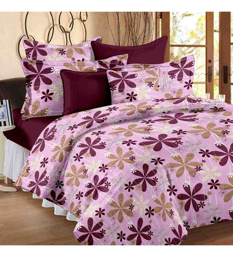 Multicolour 100% Cotton 90 X 100 Inch Maple Bed Sheet Set by Story@Home