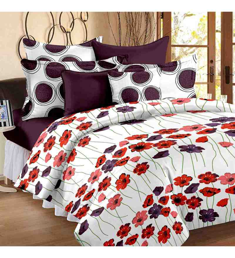 Multicolour 100% Cotton 93 X 108 Inch Valentine Bed Sheet Set by Story@Home