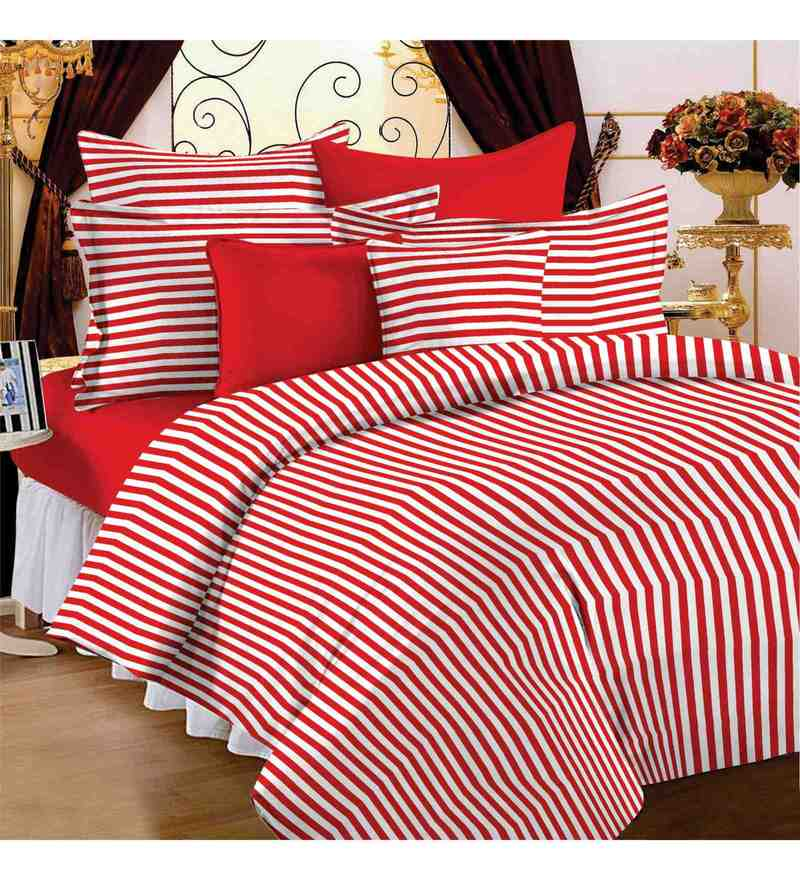 Red & White 100% Cotton 57 X 88 Inch Spark Bed Sheet Set by Story@Home