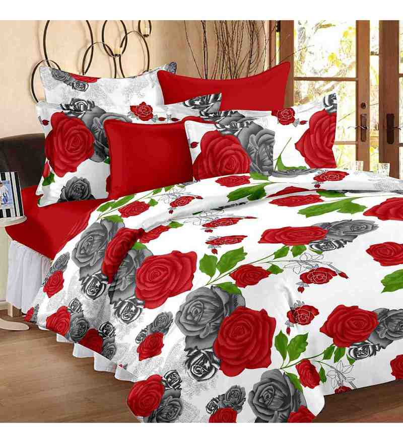 Multicolour 100% Cotton 88 X 100 Inch Magic Bed Sheet Set by Story@Home