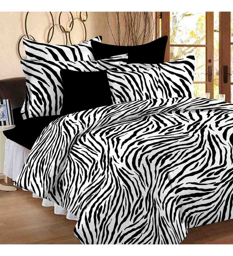 White And Black 100% Cotton 88 X 100 Inch Magic Bed Sheet Set by Story@Home