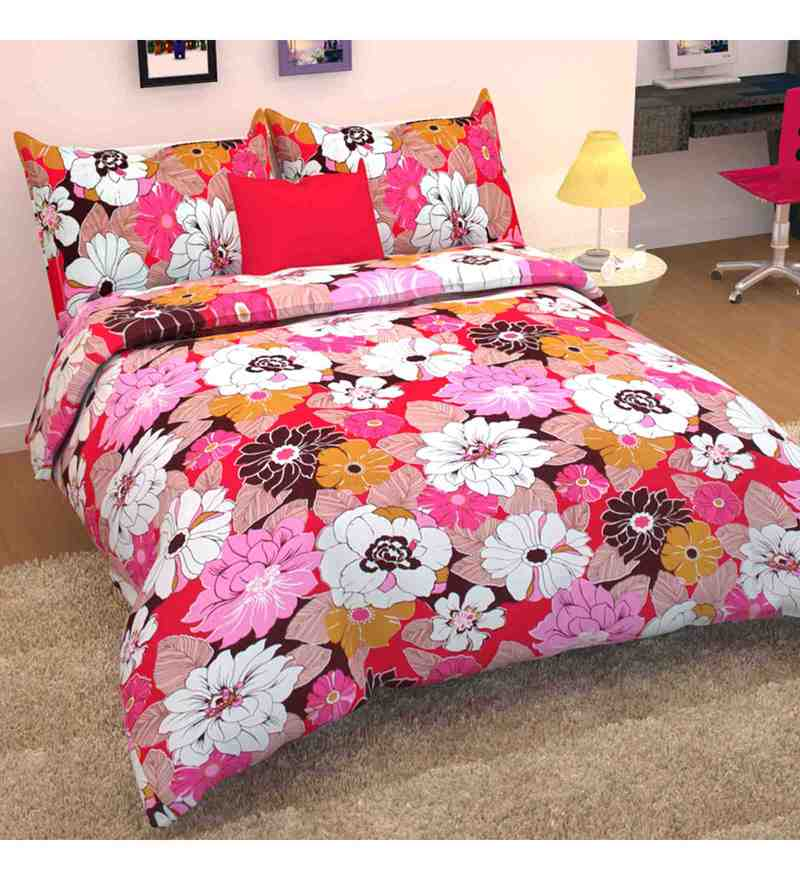 Multicolour 100% Cotton 88 X 93 Inch Flora Bed Sheet Set by Story@Home