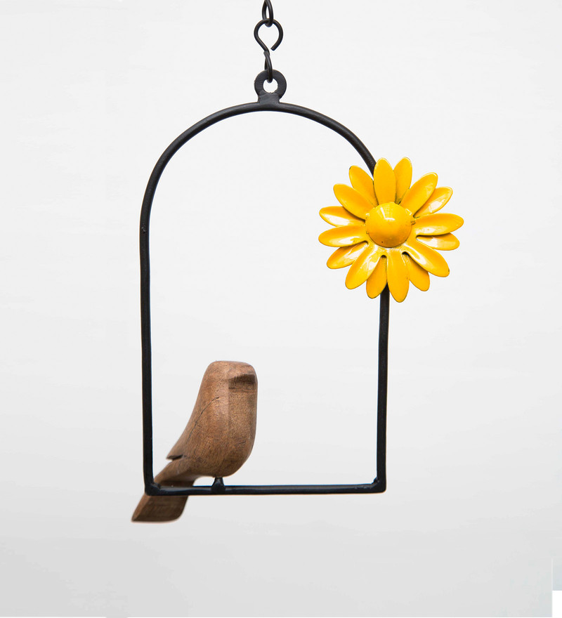 Hanging Bird Flower Yellow with Chain by Studio Earthbox